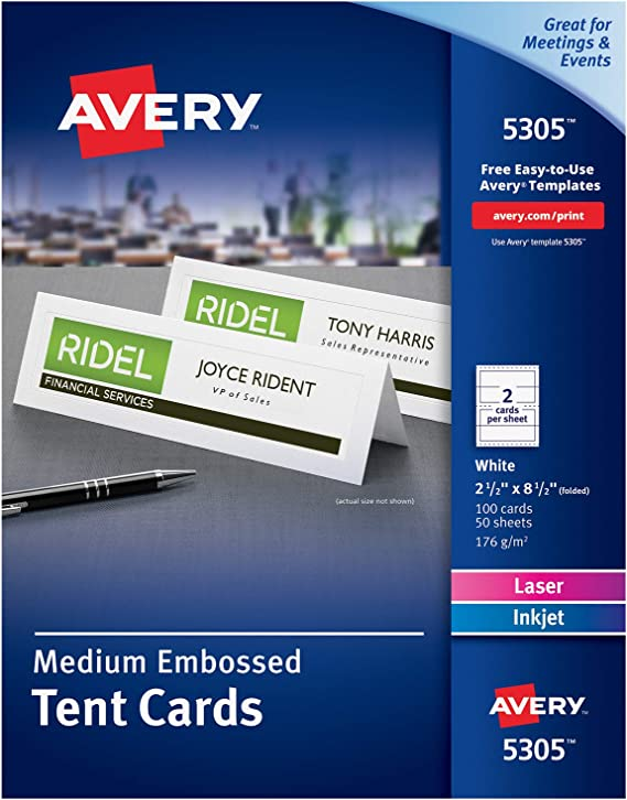 Avery Printable Tent Cards Laser Inkjet Printers 100 Cards 2 5 X 8 5 5305