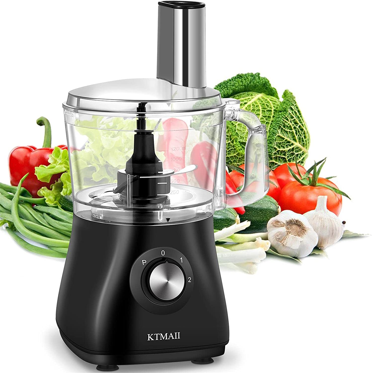 KTMAII 5 Cup Electric Food Processor & Vegetable Chopper with Bowl Scraper, Chopping, Kneading, Shredding, Slicing and Mashing Blades, 500 Watts, Black