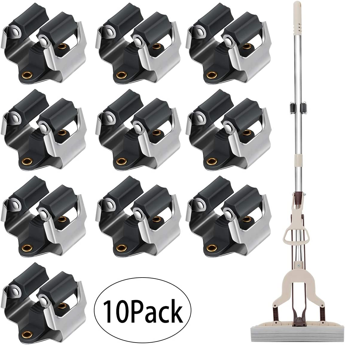 black/&white 6 pack 3-H Mop and Broom Holder Wall Mounted Garden Storage Rack