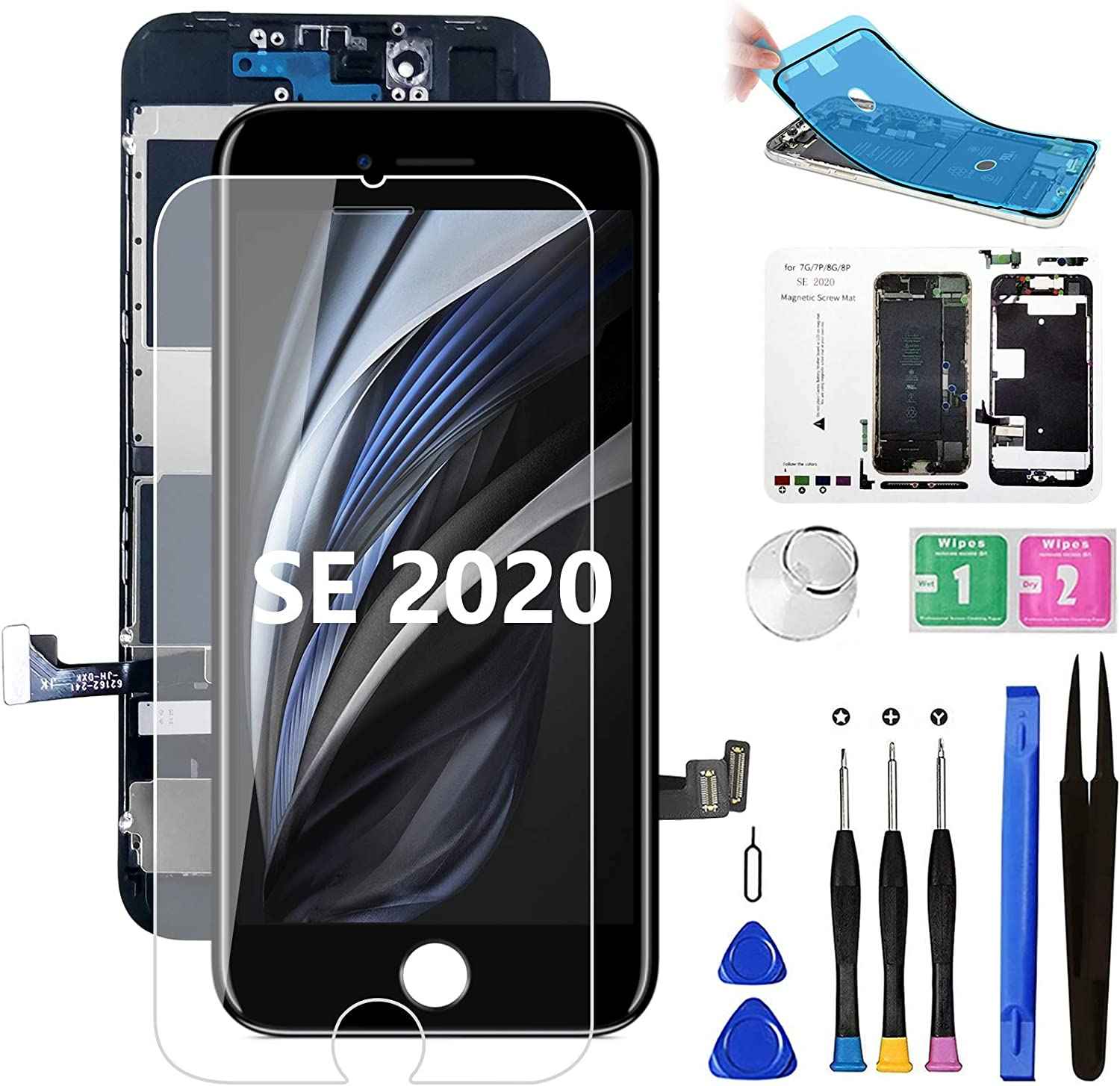 Diykitpl for iPhone SE 2020 2nd Generation Screen Replacement Black, Full Assembly LCD Touch Digitizer with Repair Tools for A2275, A2298, A2296.with Waterproof Seal+Repair Tools+Screen Protector