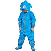 Bwiv 3D Cute Raincoat Kids Waterproof Breathable Rainsuit All in One PuddleSuits Boys Girls Hooded Muddy Suit with Reflector Lightweight PVC Transparent Hat Brim for Kids 3-10 Years