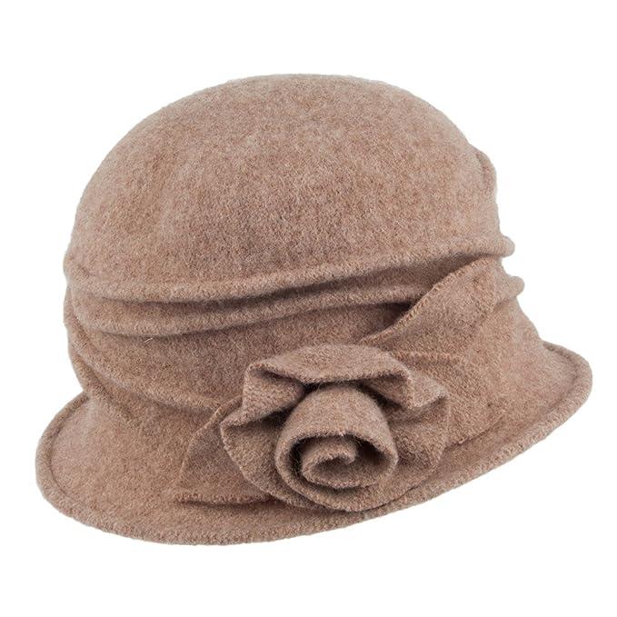 f816e69214900 Village Hats Sombrero Cloche de Lana con Rosa Decorativa de Scala - Nuez  Pecana - Talla única  Amazon.es  Ropa y accesorios