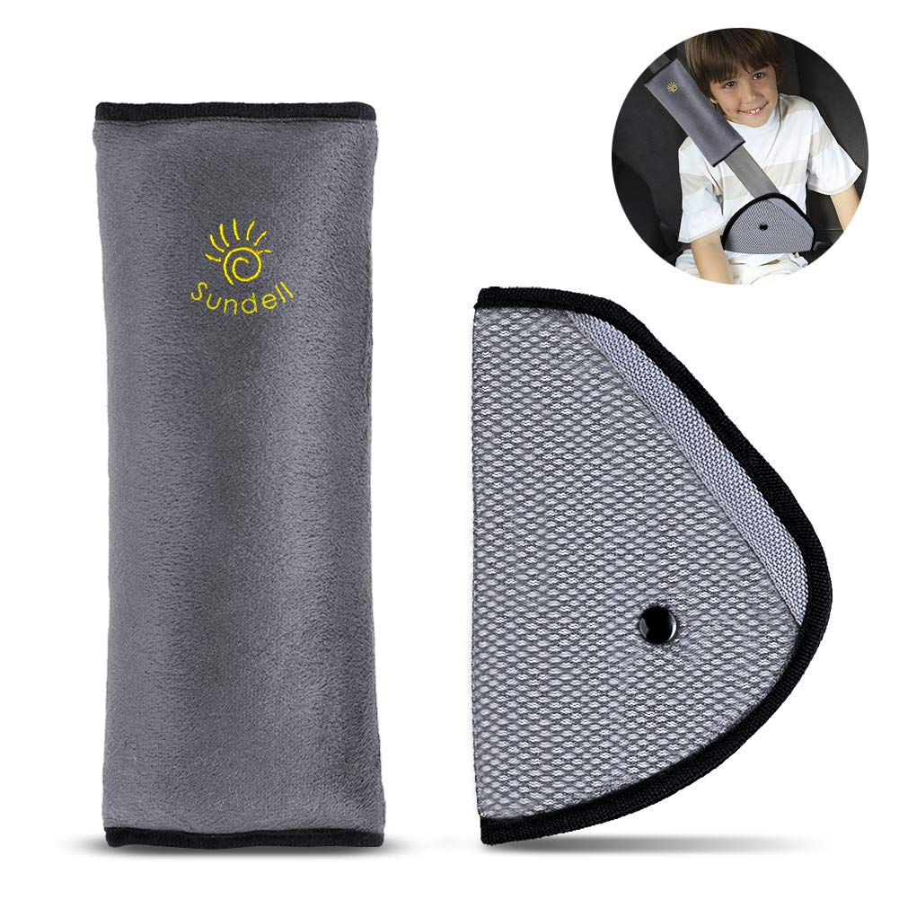 Sundell Kids Safety Seatbelt Strap Cover - Car Shoulder Pad Head Neck Support with Car Seat Belt Adjuster Pads (Gray)