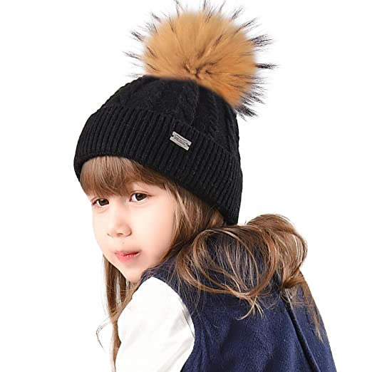 191d588da28 FURTALK Real Raccoon Fur Pompom Removable Winter hat for Girls Aged 3-10 Knitted  Beanie