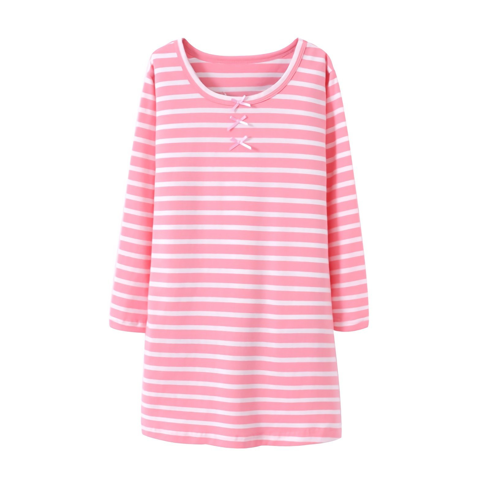 Little Girls' Princess Nightgowns Bowknot Sleep Shirts Long Sleeve Nightie Pink for Toddler 5t