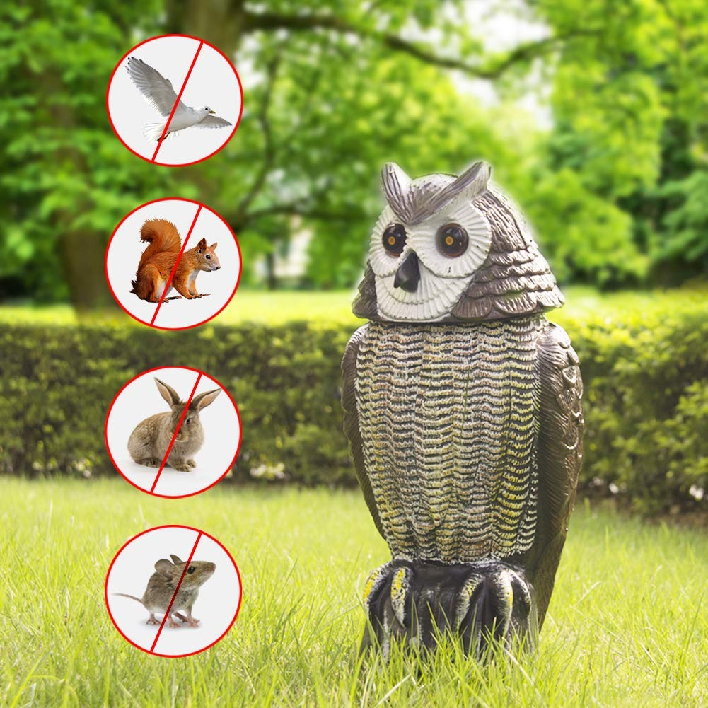 Redeo Solar Powered Owl Decoy Scarecrow Bird Repellent with Flashing Eyes & Scary Sound & Rotating Head, 10-16 ft Motion Activated - Animal Repeller Deter Birds, Squirrels & Mice and More by Redeo