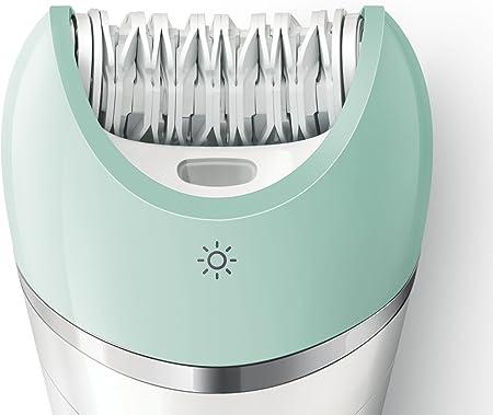 Philips Satinelle Advanced BRE620/00 - Depiladora Wet & Dry para mujer inalámbrica, 3 accesorios, verde y blanco