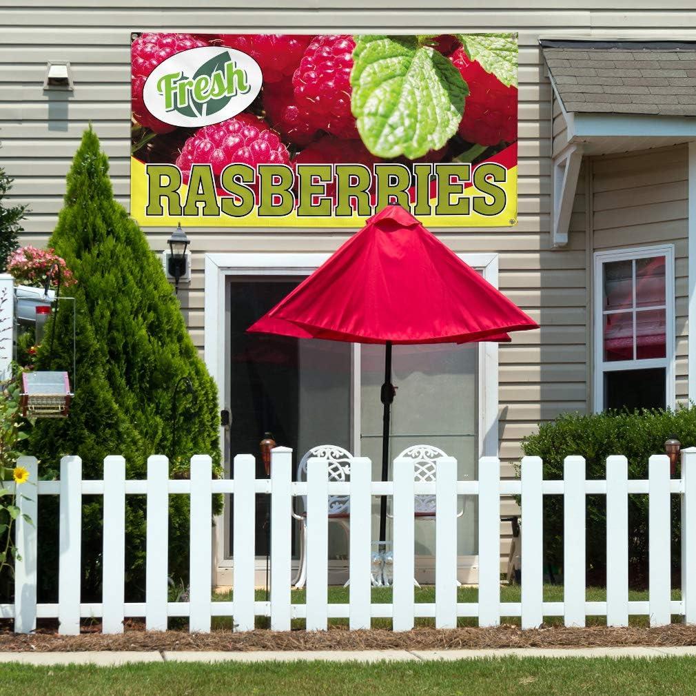 6 Grommets Multiple Sizes Available 32inx80in Set of 2 Vinyl Banner Sign Fresh Raspberries #1 Style C Fresh Raspberry Marketing Advertising Red