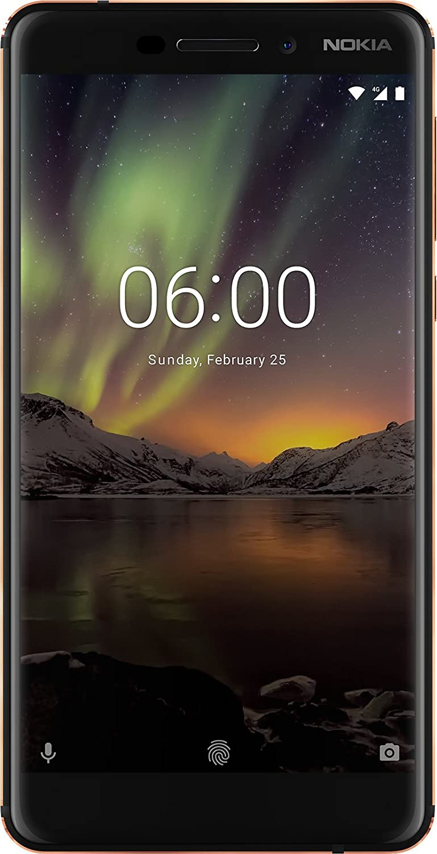 "Nokia 6.1 Smartphone da 5.5"" IPS full-HD, 3GB RAM, 32 GB ROM, Snapdragon 630 2.2 GHz, Dual SIM, Camera da 16MP, Andoid One, Nero/Copper [Italia]"