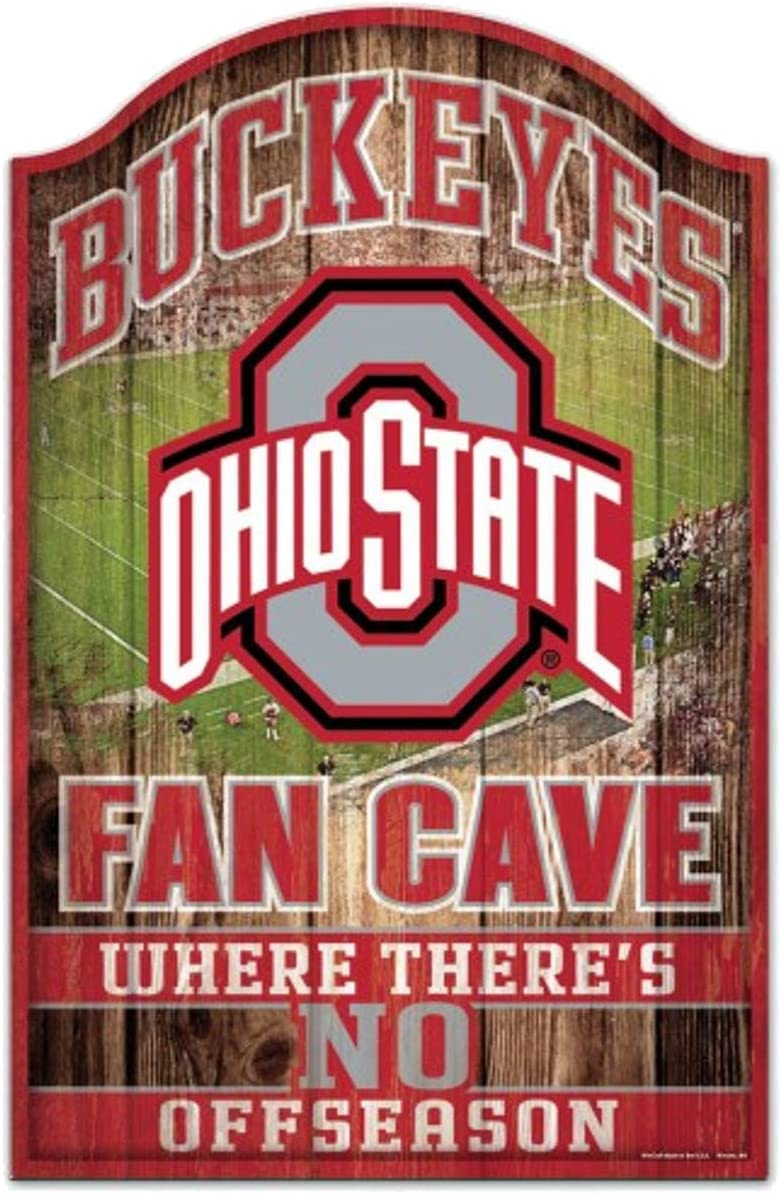 "Wincraft Collegiate Fan Shop Authentic NCAA Fan Cave Wooden Sign. Stake Your Territory with This Sign. for The Office or Man Cave. This 11""X17"" Sign Let's Everyone Know Your Team"