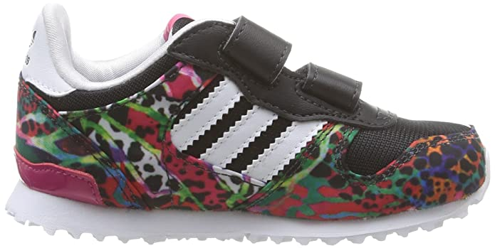 Adidas M17022 - Zapatillas de Running de Material sintético infantil, Multicolor (Cblack/Ftwwht/Ftwwht), Talla 23