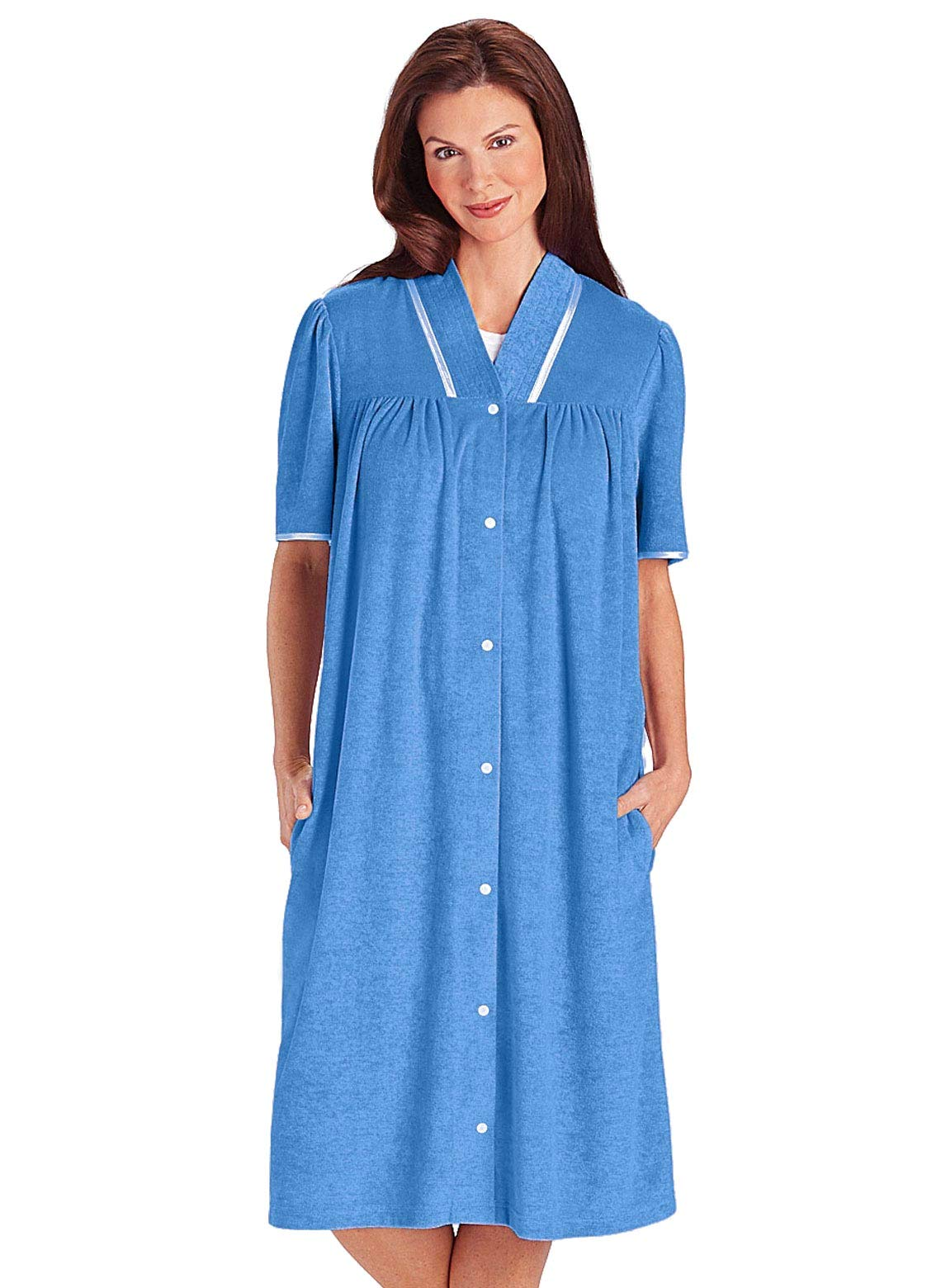 Carol Wright Gifts Terry Snap Robe, Blue, Size Extra Large (2X)