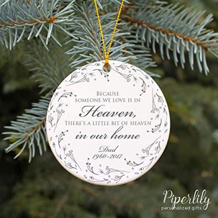 Memorial Christmas Ornaments.Because Someone We Love Is In Heaven Ornament Personalized