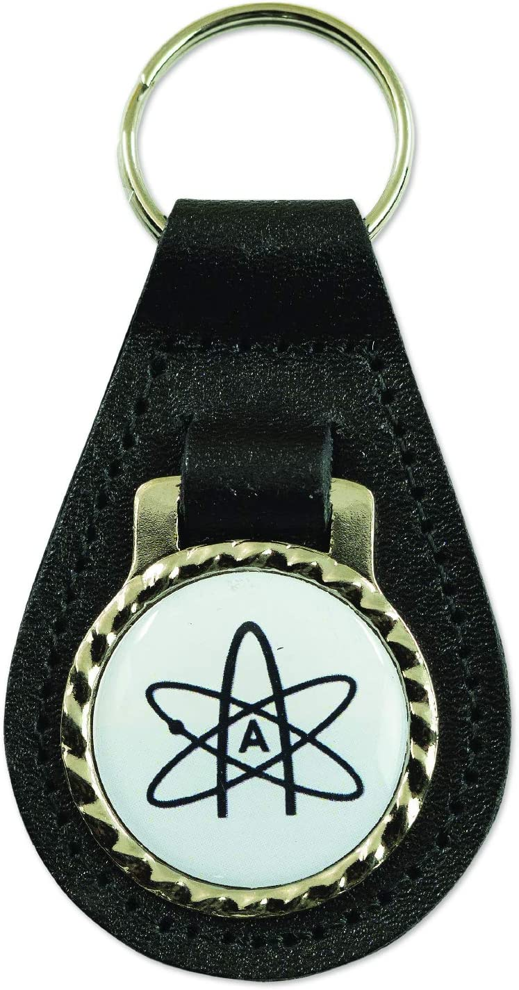 3 Tall EvolveFISH Atheist Atom Black Leather Key Chain Fob