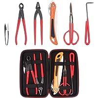 Pakoula 6 Piece Bonsai Tool Set with Case, Bonsai Scissors Carbon Steel Shear Cutter Scissor Kit Gardening Plant Tools (Red)