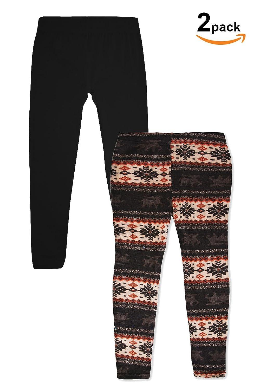 BASICO Kids Fleece Leggings Winter Skinny Nordic Indian S, 2Pks Brown