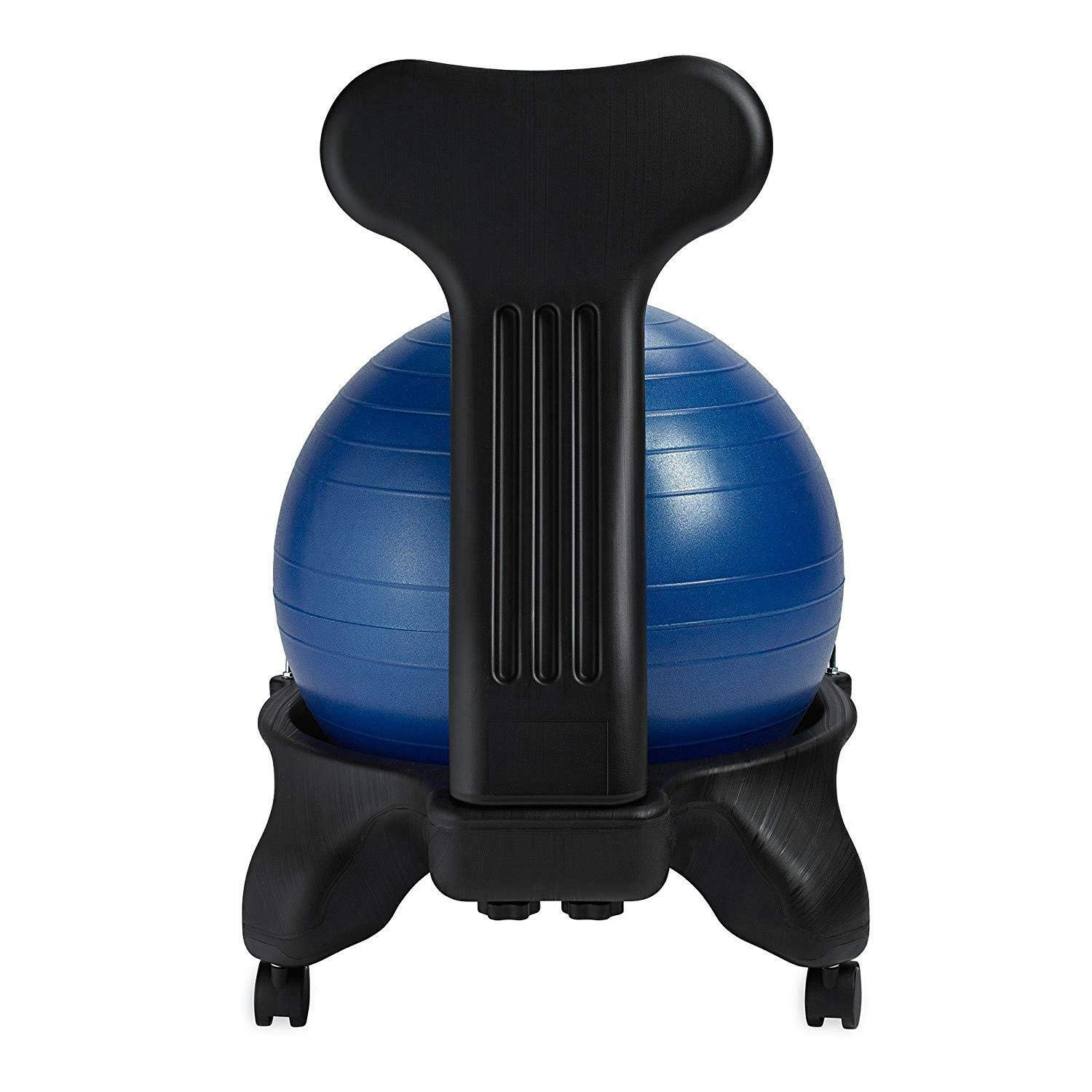 MRT SUPPLY Classic Gym Yoga Exercise Fitness Balance Ball Office Desk Chair, Blue with Ebook