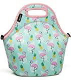 Lunch Box Bag for GirlsVaschy Neoprene Insulated Lunch Tote with Detachable Adjustable Shoulder Strap in Cute Flamingos