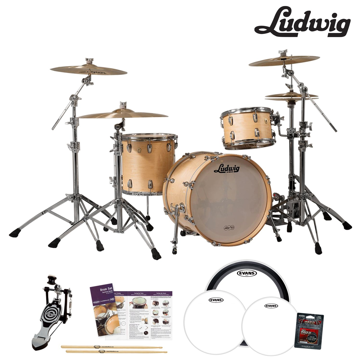 Ludwig USA Classic Maple 3 Pc Drum Kit L8303AX0N