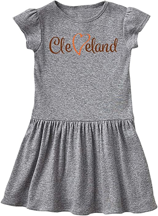 Amazon.com  inktastic - Cleveland Heart Cursive Orange Toddler Dress 2T Heather  Grey 26e7a  Clothing e22d5804b