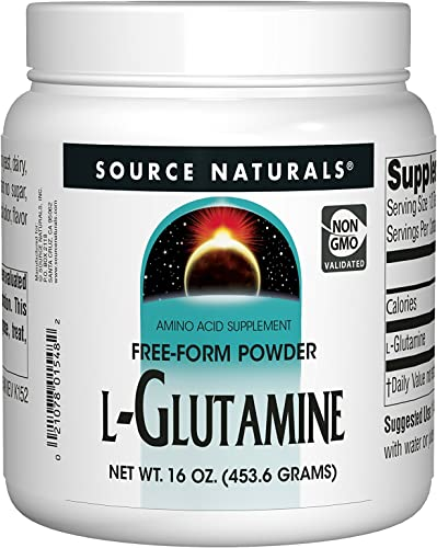 Source Naturals L-Glutamine Powder Protein Synthesis Free Form Amino Acid Muscle Mass Glutamine Recover Aid Supports Digestive System, Immune Function, Metabolic Energy Mood Enhancement – 16oz