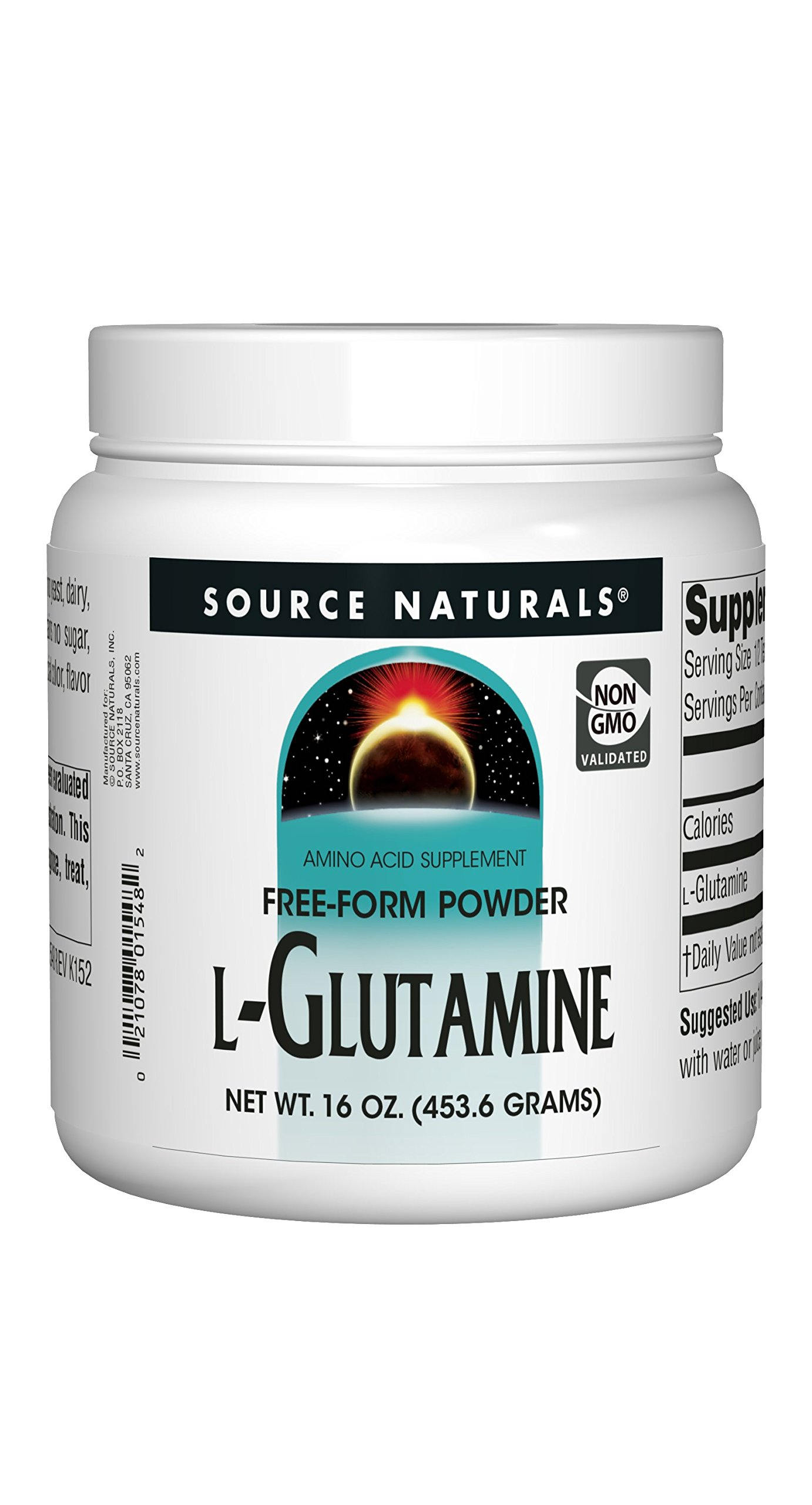 Source Naturals L-Glutamine Powder - Protein Synthesis Free Form Amino Acid - 16 oz
