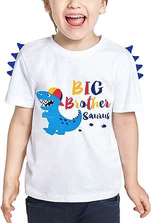 WAWSAM Camiseta de Hermano Mayor - Dinosaurio Trajes de Hermanos para Niñito Niños