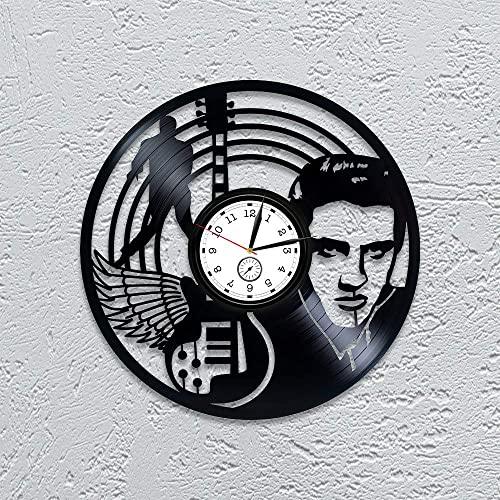 Kovides Elvis Elvis Presley Clock Elvis Presley Vinyl Record Wall Clock Presley Vinyl Wall Clock Elvis Presley Vinyl Clock 12 inch Clock Wall Clock Vintage Gift