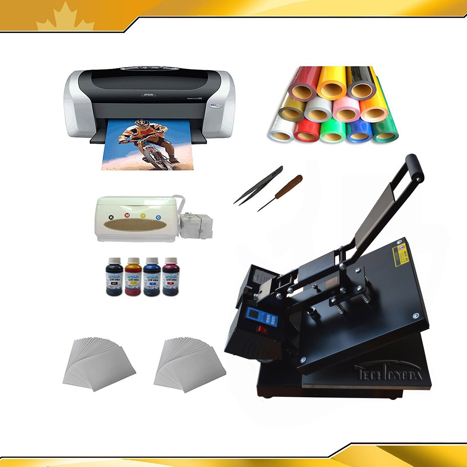 Heat press machine +transfer paper +transfer PU vinyl +Printer + Business Kit by Heat Transfer Packages