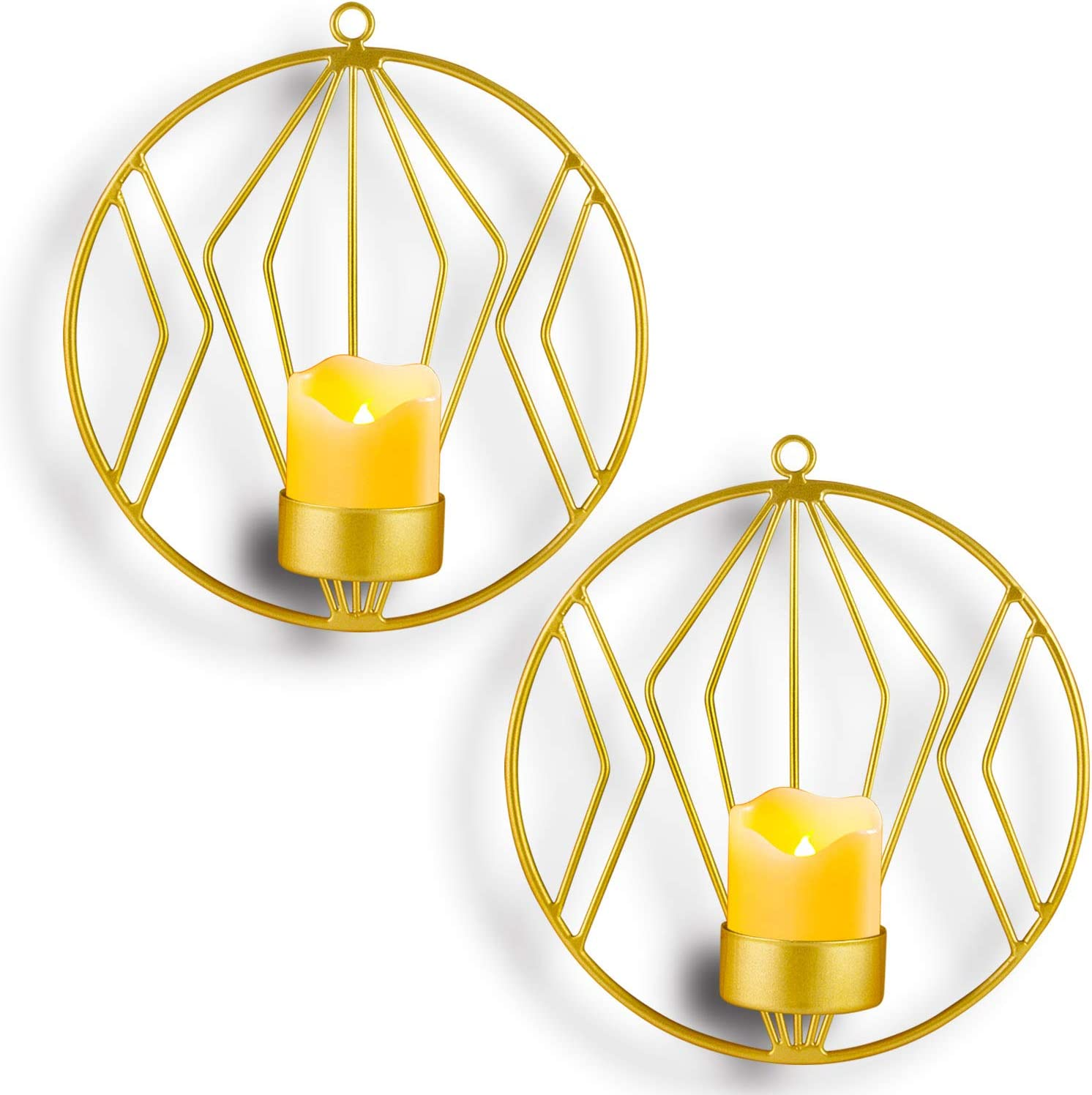 Kathy Wall Mounted Candle Holder,Set of 2 Tea Light Candle Sconces Metal Wall Decor for Home Living Room Wedding Events,Gold