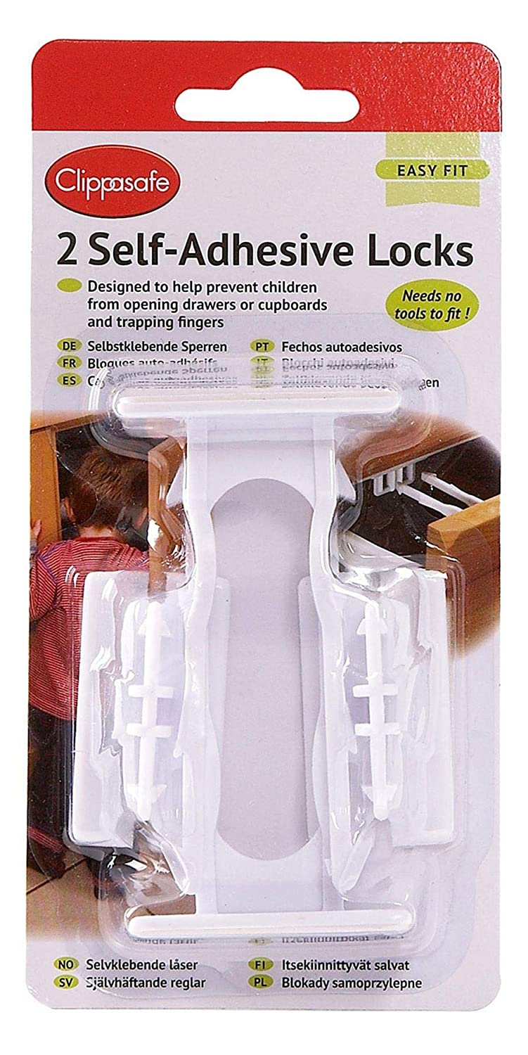 Clippasafe Cupboard /& Drawer Lock Secure Catches 2 Pack   NO TOOLS NEEDED