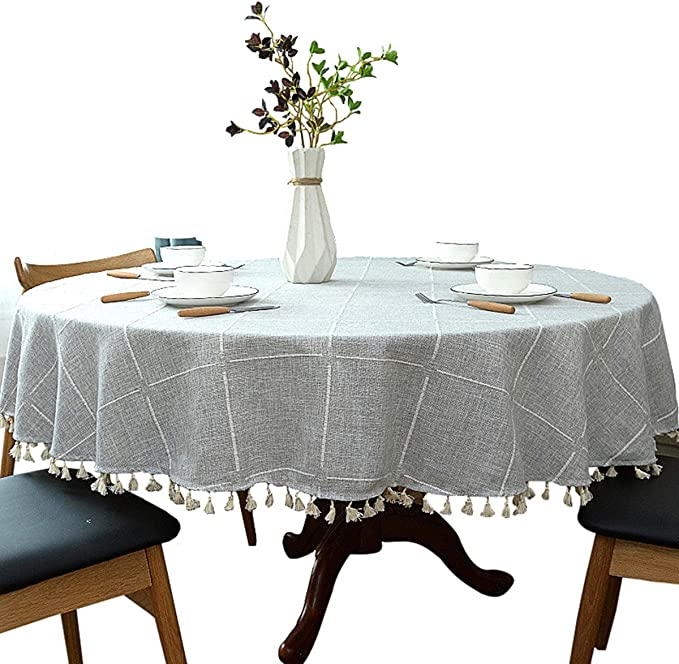 Simple Nordic Style Cotton Linen Fabric Table Cloth with Tassel Wrinkle-proof Round Table Cover for Kitchen Dinning Tabletop Decoration Yellow Diameter 150cm//60in HINMAY Round Tablecloth