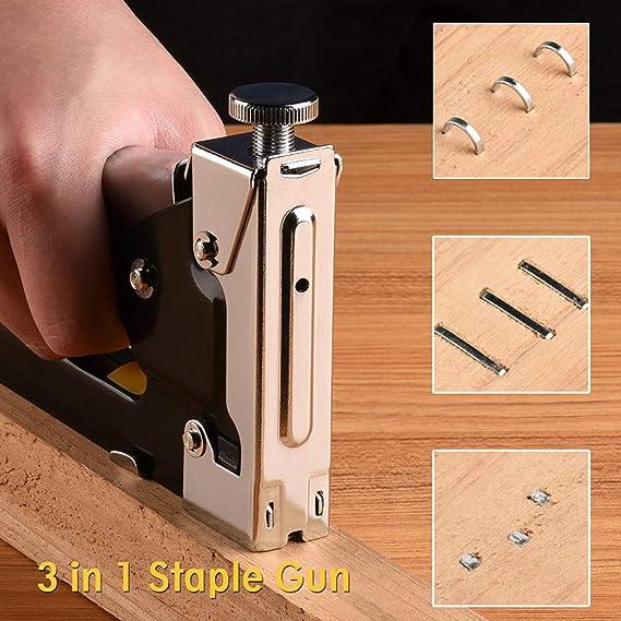 HSEAMALL - Kit de pistola de grapas manual 3 en 1 con quitagrapas ...
