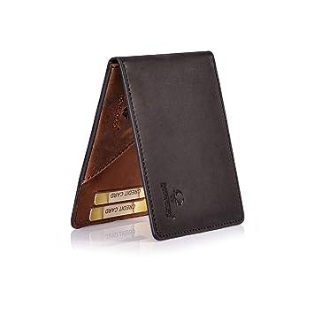 bc55c0f1b7d9e Donbolso Geldbörse Madrid mit Münzfach Leder Herren Mini Geldbeutel Flach  RFID Portemonnaie Geldklammer Slim Wallet Brieftasche