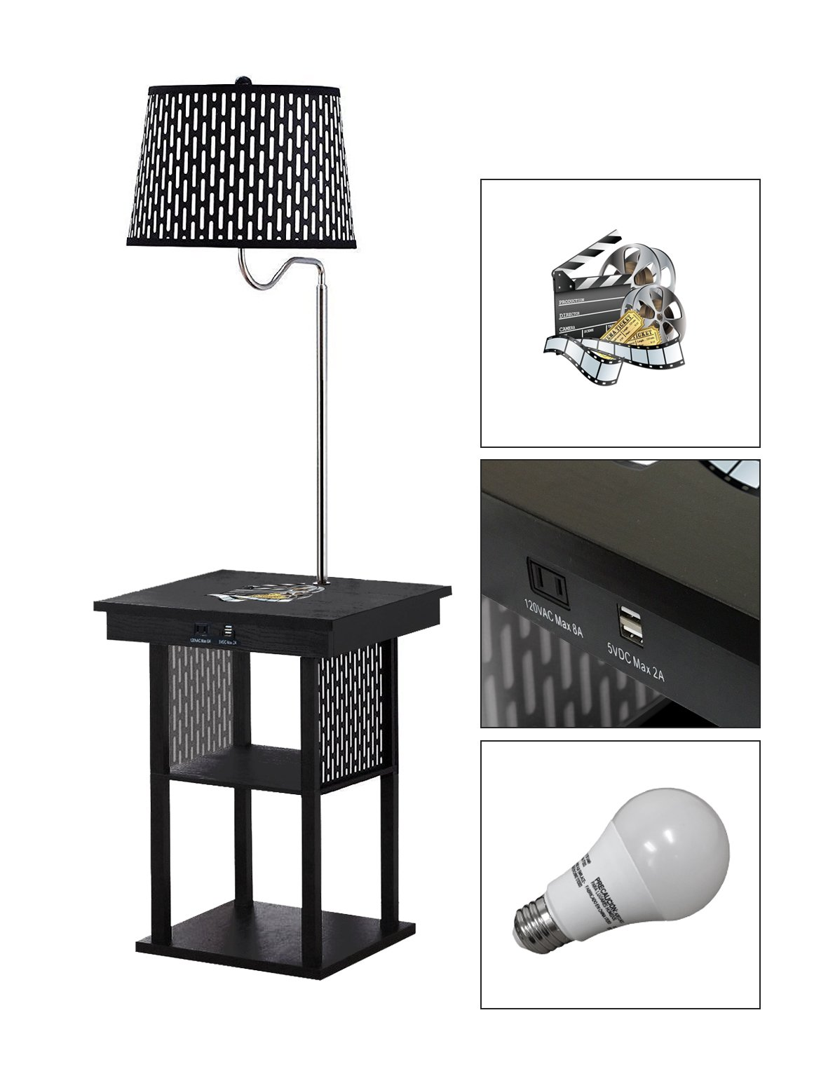 Black Side End Table USB Ports Electric Outlet Built-In Lamp Featuring a Novelty Themed Logo-FREE LED BULB (Movie Reel)