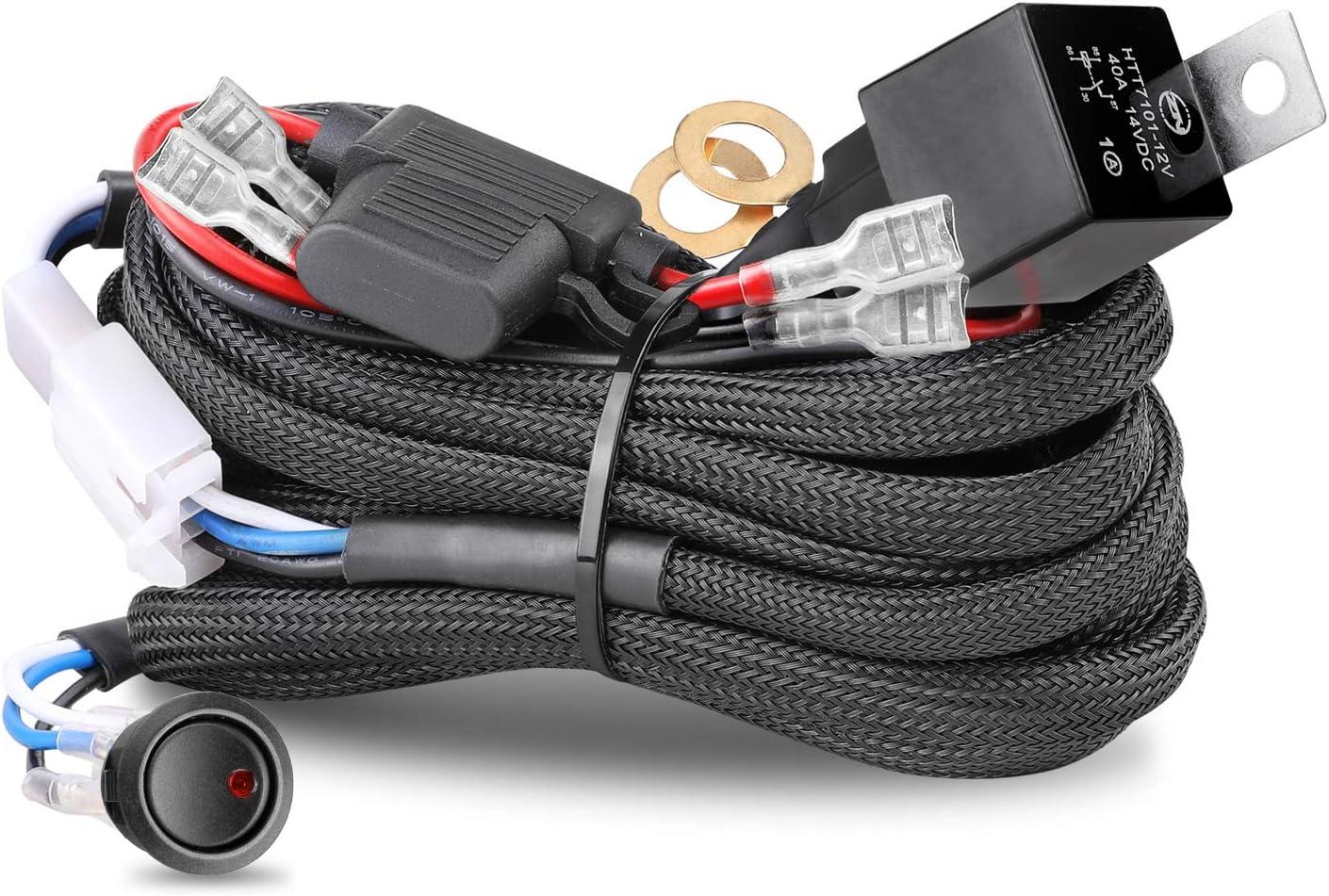 Wiring Harness 2 Lead, Nirider 12V 40A Rock Switch Relay Fuse Nylon Wiring Harness Kit for LED Light Bars Fog Lights Work Lights Driving Lights Offroad LED Pods Wire Kit for Truck UTV AVT Boat