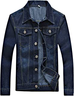 Pivaconis Mens Buttons Long Sleeve Jeans Lightweight Pockets Stylish Denim Jackets
