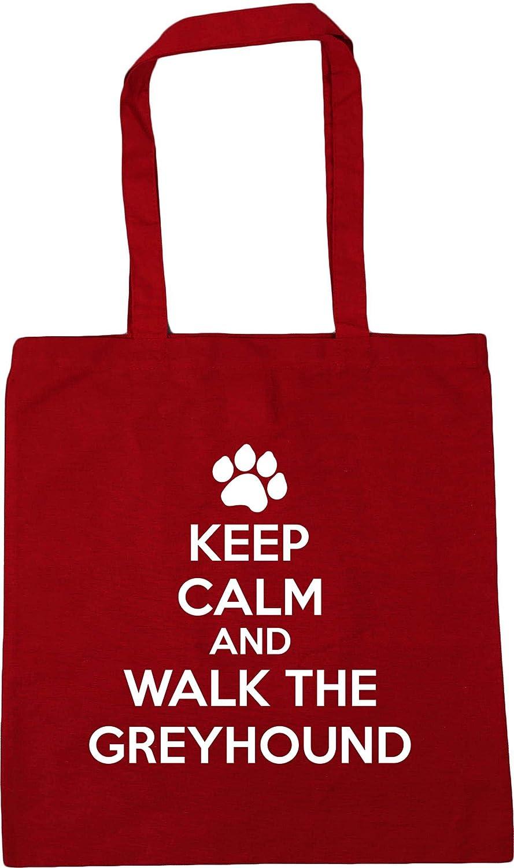 Hippowarehouse Keep calm and walk the greyhound dog Tote Shopping Gym Beach Bag 42cm x38cm 10 litres