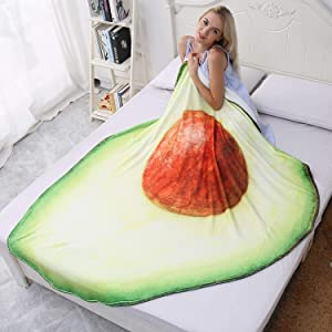 CASOFU Avocado Blanket, Cute Cartoon Food Fruit Throw Blankets, Soft and Comfortable Giant Round Beach Blanket for Kids and Adults (Avocado-a, 60x75 inches)