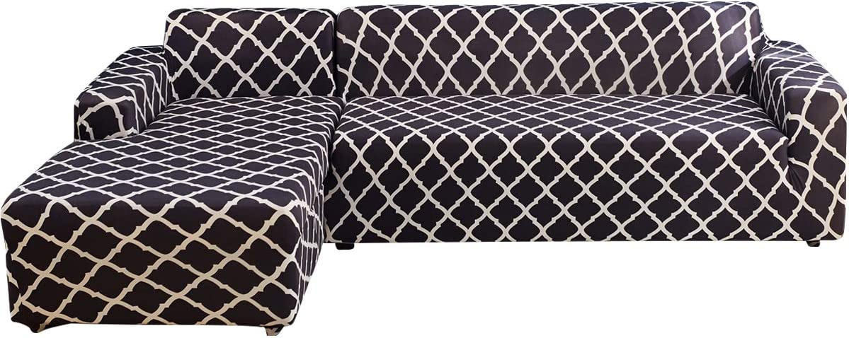 Sectional Couch Covers L Style Sofa Covers 2 Piece Stretch Polyester Fabric Slipcovers with 2Pcs Pillow Covers for Sectional Corner Sofa Furniture Protector (Black White Grid, L-Shape 3+3 Seat)