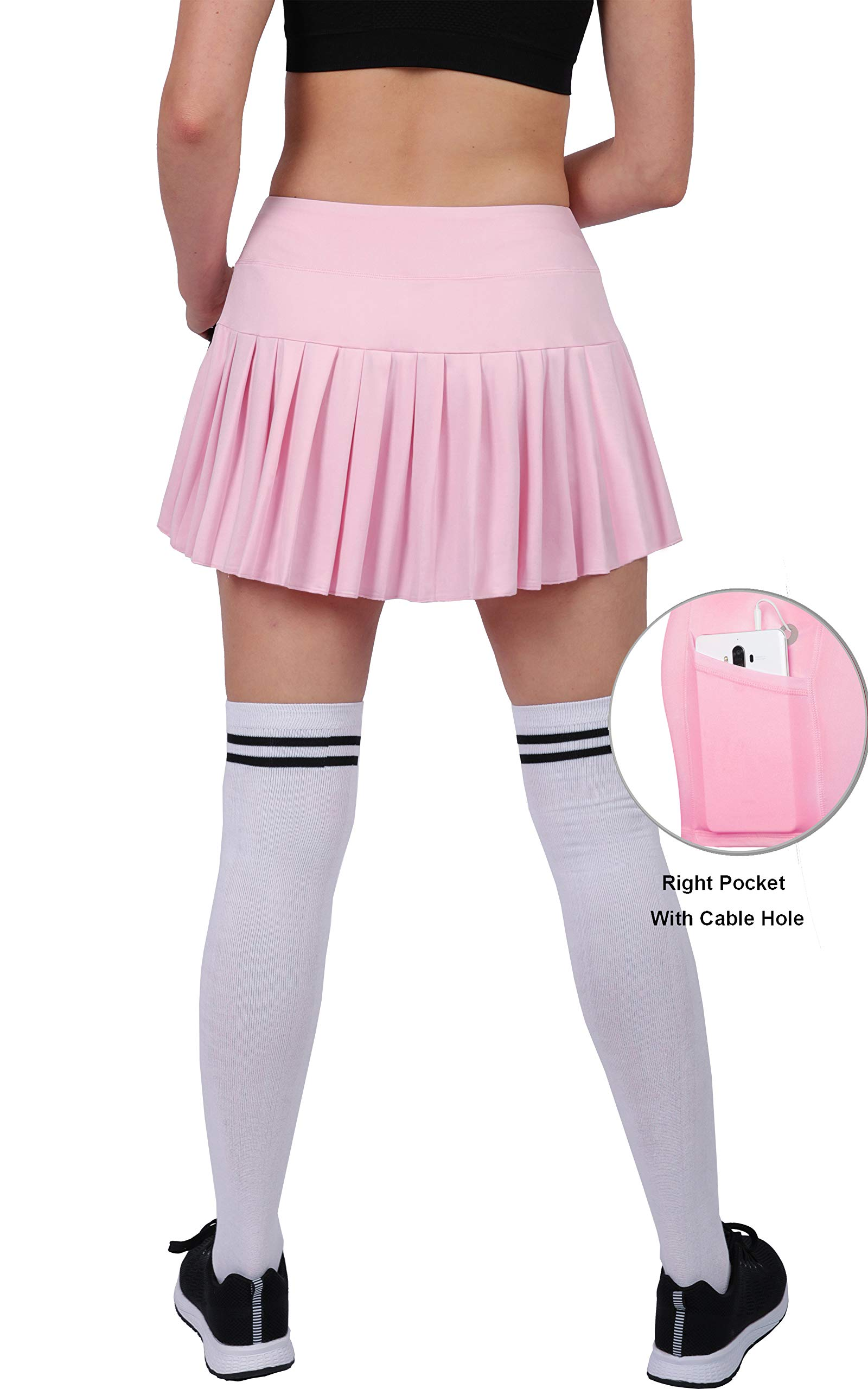 0a11bacfcf626 Womens Built in Tennis Ruffles Skirts Golf Workout Skorts Sports Active  Wear with Pockets Light Pink