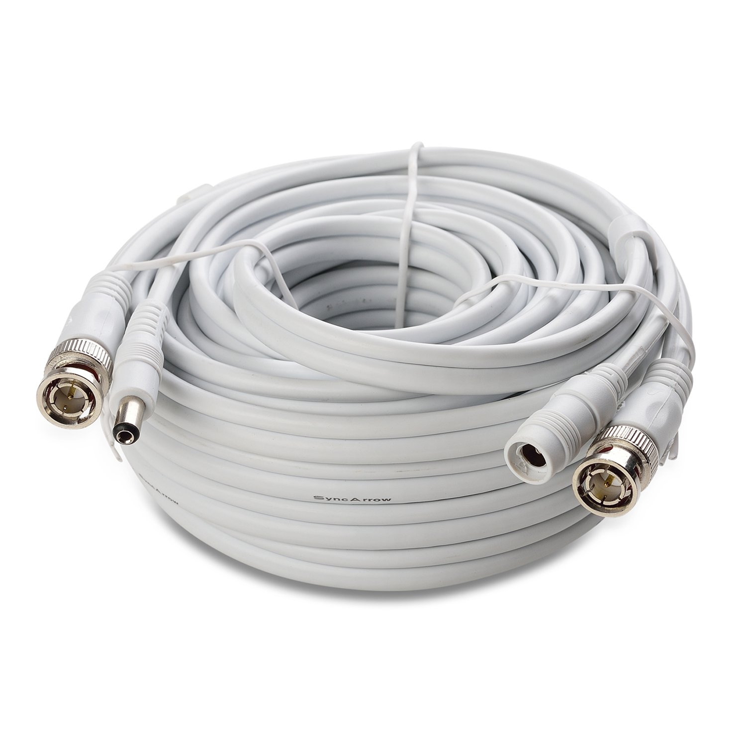 SyncArrow Premium PRO-Grade 1080P HD Premade 2-In-1 Multi-Purpose Fire-Rated Double Shielded BNC Video Power Extension Cord CCTV Combo Coaxial Cable with BNC RCA (PRO-30M2W, 100 feet, White)