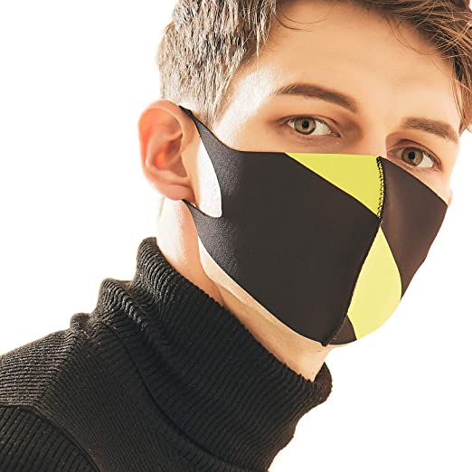 And X Fashion Yellow Face Looka Protective Washable Double Air Black Reusable Layered Mask