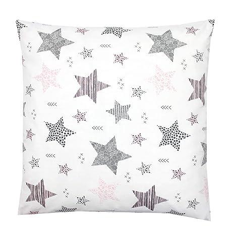 TupTam Funda para Cojin con Diseño Decorativo para Niños, Estrellas Rosa/Negro, 80x80 cm