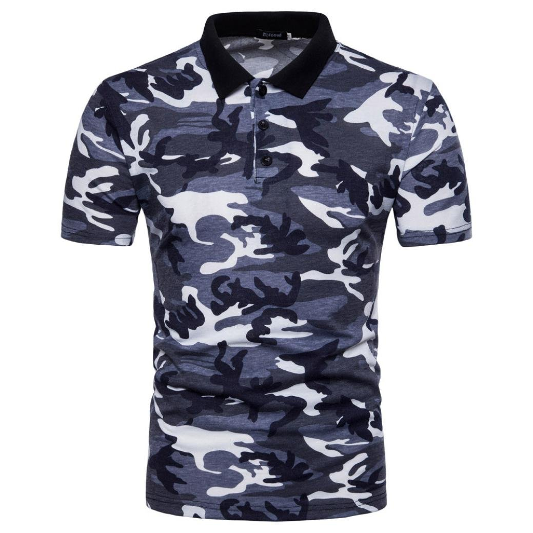 Rawdah Polo Para Hombre Camuflaje Casual Print Turn-Down Collar Camiseta Top Blusa: Amazon.es: Ropa y accesorios