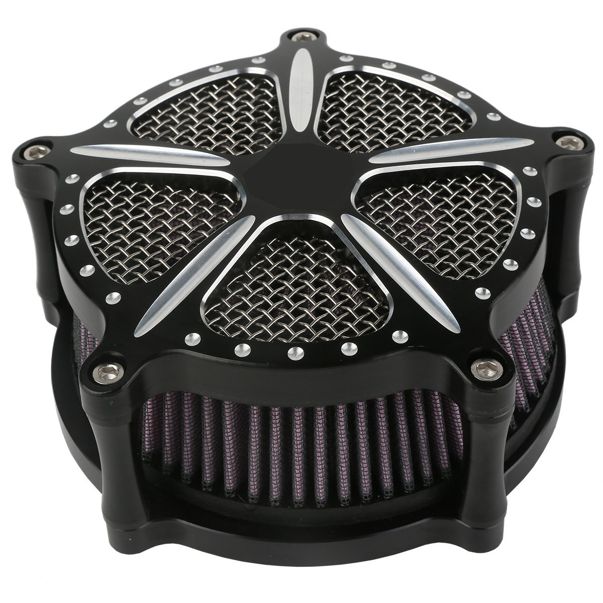 XMT-MOTO Speed-5 CNC Deep Cut Air Cleaner Filter For Harley Touring FLHR FLHT FLHX 2008-2016 by XMT-MOTO (Image #3)