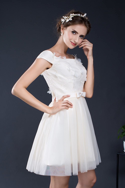 RUKLEID Women's Chiffon Mini Scoop A-line Dress light champagne bridesmaid dresses