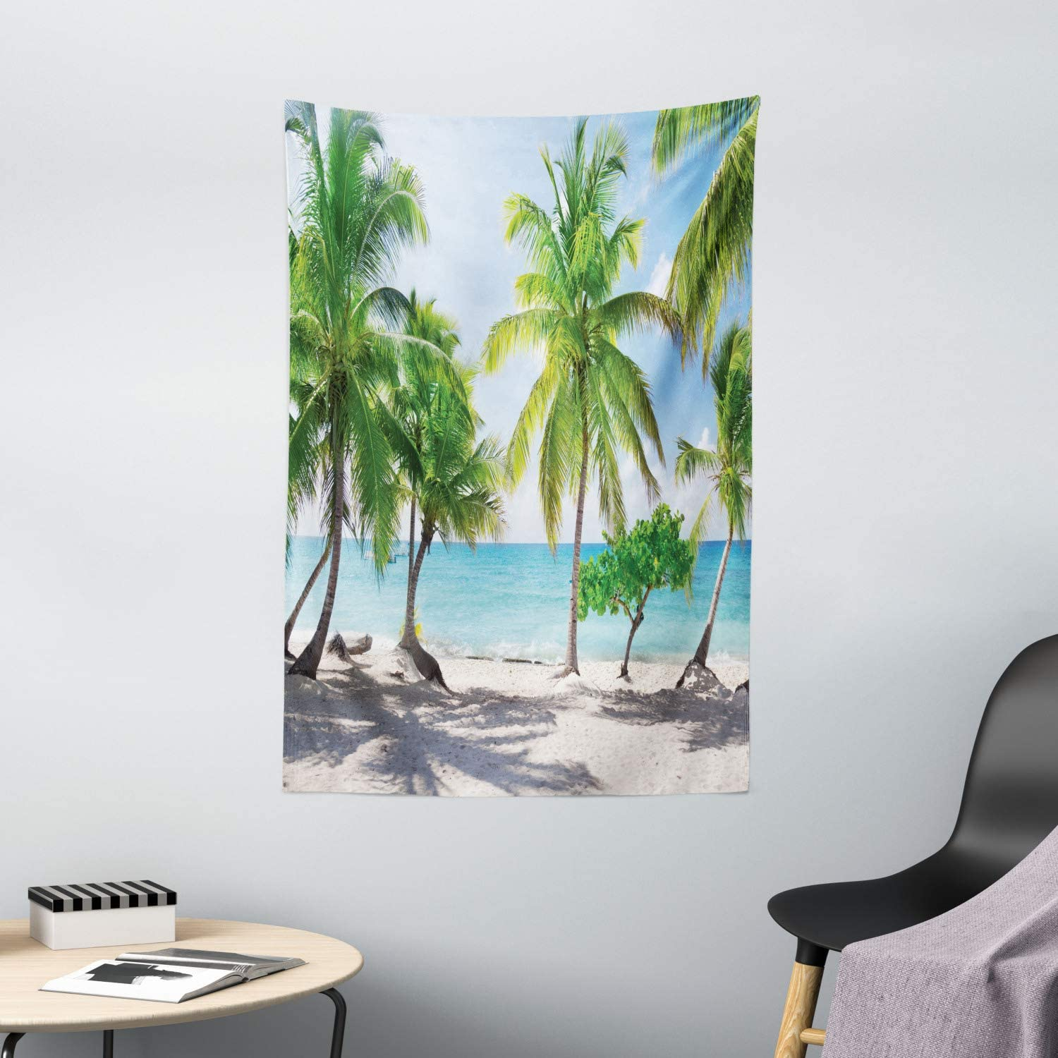"""Ambesonne Beach Tapestry, Palm Leaves in Catalina Island Dominic Seashore Coastal Panoramic Picture, Wall Hanging for Bedroom Living Room Dorm Decor, 40"""" X 60"""", Green Aqua Coconut"""