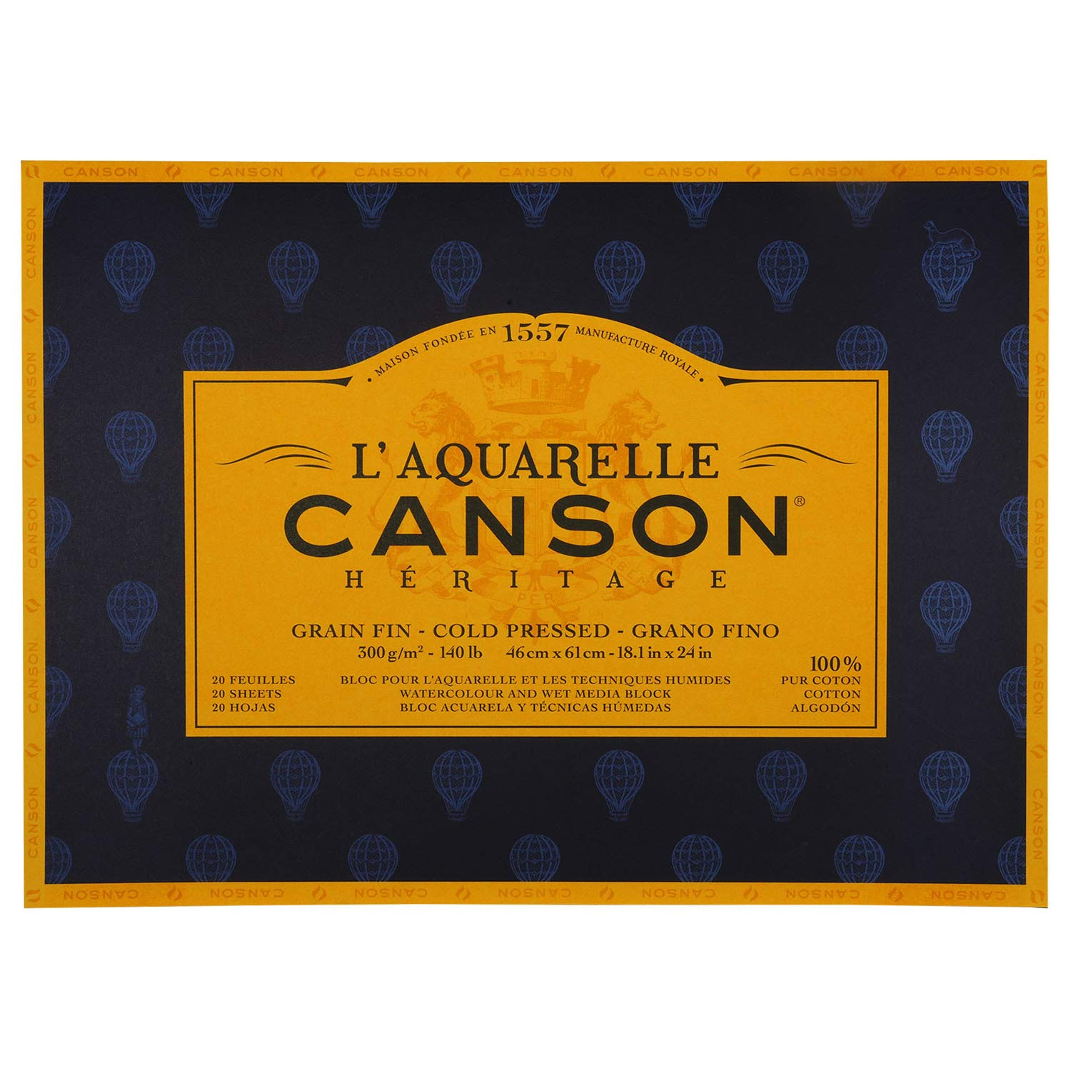 Canson : Heritage : Watercolour Paper Block : 300gsm : 46x61cm : 20 Sheets : Cold Pressed by Canson
