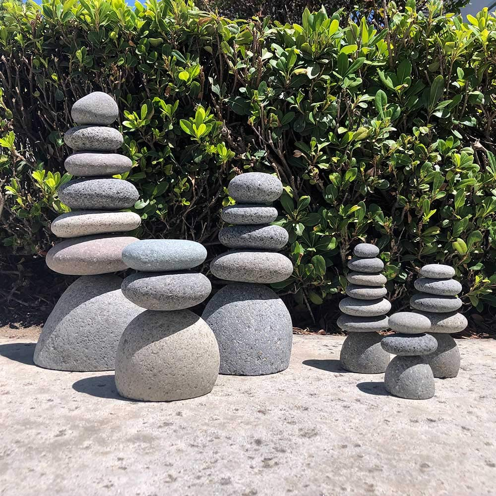 Natural River Mini Rock Cairn Stone Stacked Zen Garden Decoration Stone Set of 3